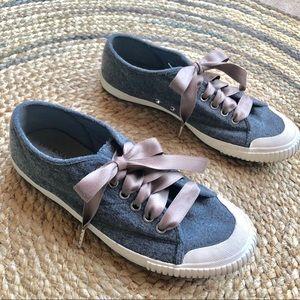 Tretorn for J.Crew grey fleece sneakers silk laces